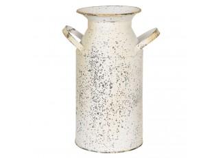 Krémová dekorační retro konvice na mléko s patinou - 15*11*23 cm