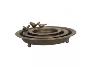 Kovové dekorační misky s patinou a ptáky (3 ks) - Ø 30*9 / Ø 22*7 / Ø 16*5 cm