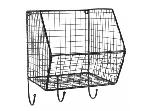 Černý nástěnný kovový stojan s háčky - 22*27*30 cm