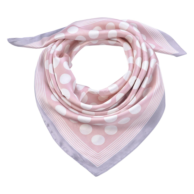 Clayre & Eef Růžový šátek s bílými puntíky a šedivým lemováním - 70*70 cm