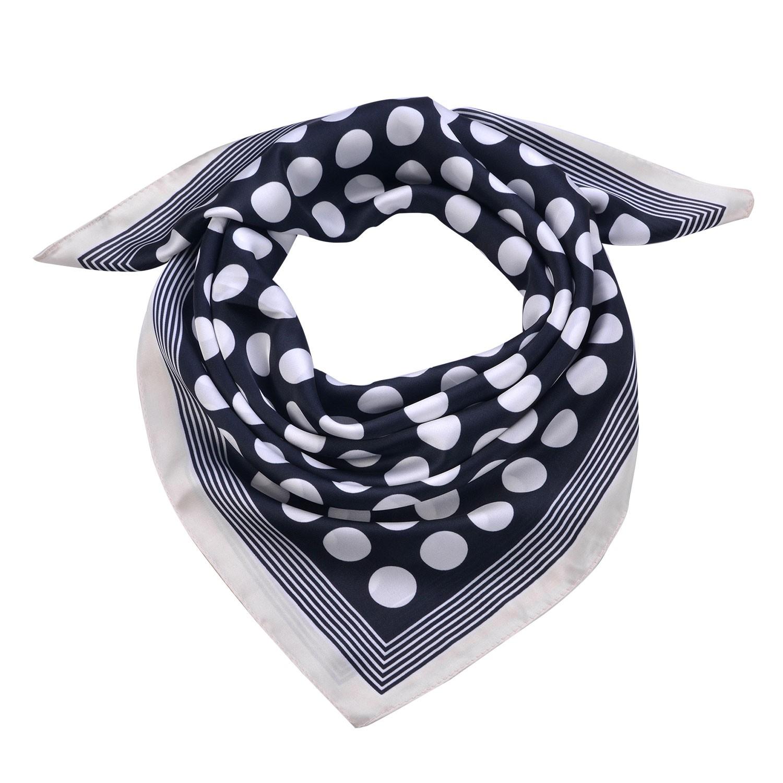 Clayre & Eef Modrý šátek s bílými puntíky a lemováním - 70*70 cm