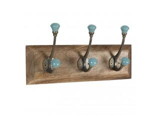 Dřevěný nástěnný věšák s tyrkysovými knopkami Isabelle - 30*8*10 cm