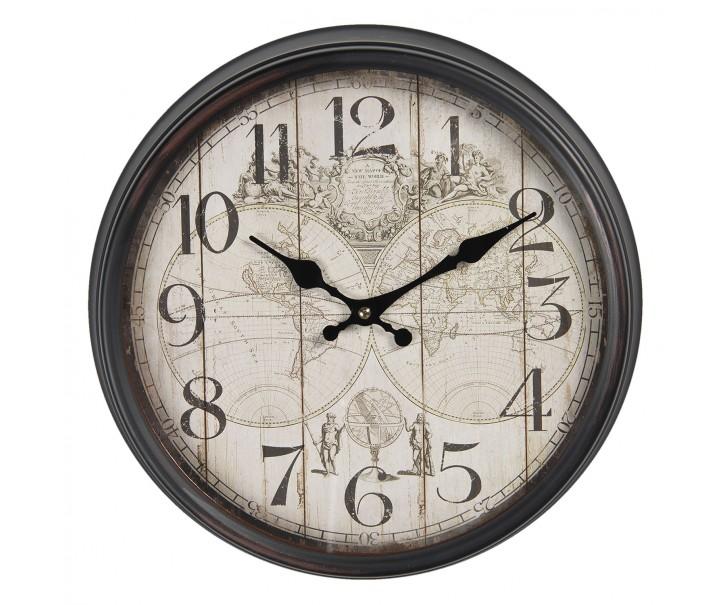 Vintage nástěnné hodiny The World – Ø 36*12 cm / 1*AA