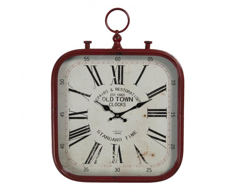 Vintage nástěnné hodiny v červeném rámu Old Town - 40*3*53 cm / 1*AA
