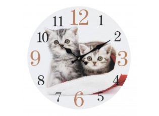 Nástěnné hodiny s motivem koťat – Ø 34*4 cm / 1*AA