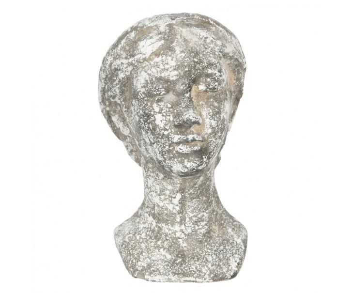 Cementový vintage květináč hlava ženy Marionette - 15*12*22 cm