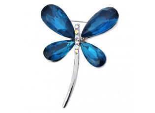 Stříbrná brož ve tvaru vážky s modrými křídly