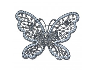 Brož ve tvaru motýla zdobená kamínky a perličkami