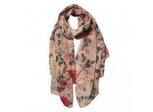 Béžový šátek s růžemi - 90*180 cm