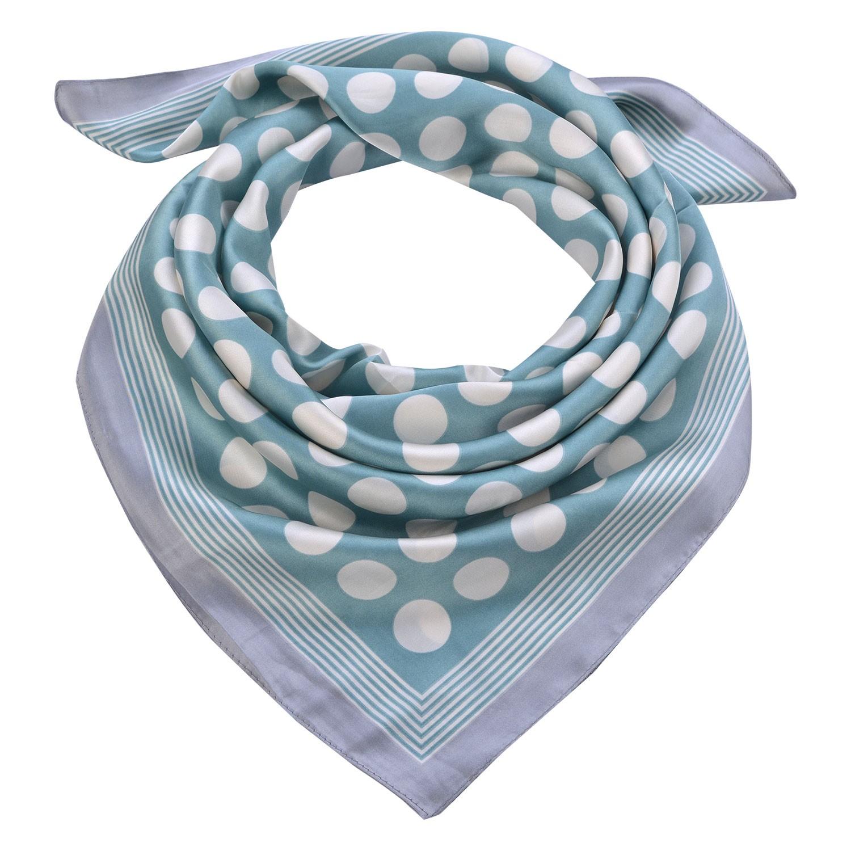 Clayre & Eef Světle modrý šátek s bílými puntíky - 70*70 cm