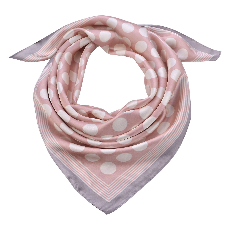 Clayre & Eef Růžový šátek Michele s bílými puntíky- 70*70 cm