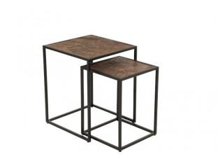 2 černé kovové odkládací stolky Christophe - 42*42*53cm