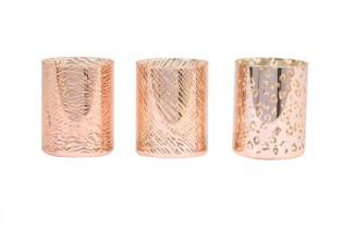 3ks růžovo-zlaté skleněný svícen Penza - Ø 8*10 cm