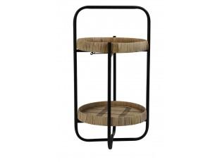 Černý kovový 2 patrový etažér s bambusovými podnosy Lorena - 33*60*45cm