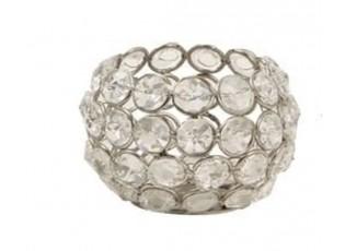 Kovový svícen vyplněný sklíčky Crystal - Ø 6*6 cm