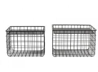 2ks černé kovové košíky s víky Padang  - 41*31*28,5+46*36*29,5cm