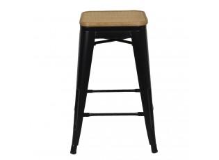 Černá barová stolička Sergio s ratanovou výpletí - 31*31*62 cm