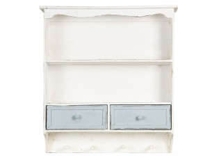 Bílá vintage nástěnná polička s modrými šuplíčky - 56*13*60 cm