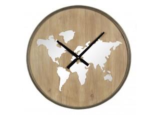 Nástěnné dřevěné hodiny s kontinenty – Ø 61*7 cm / 1*AA