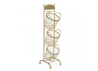 Zlatý kovový stojan Jorge se 3 koši - 30*25*98 cm