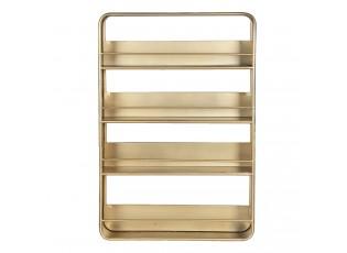 Zlatý kovový závěsný stojan s poličkami - 40*8*60 cm