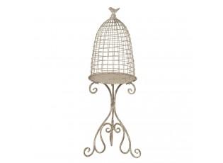 Krémová vintage dekorace ptačí klec - 36*31*91 cm