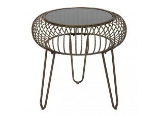 Kovový odkládací stolek Fabio se skleněnou deskou- 48*47 cm