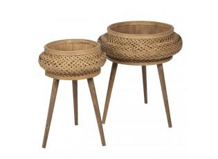 Bambusem vyplétané 2 stolky na květiny - 50*68 / 37*60 cm