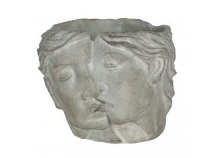 Kamenný květináč v designu propojených tváří Homme - 16*14*13 cm