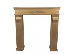 Zlatá dřevěná krbová římsa s patinou Mary - 100*22*99 cm