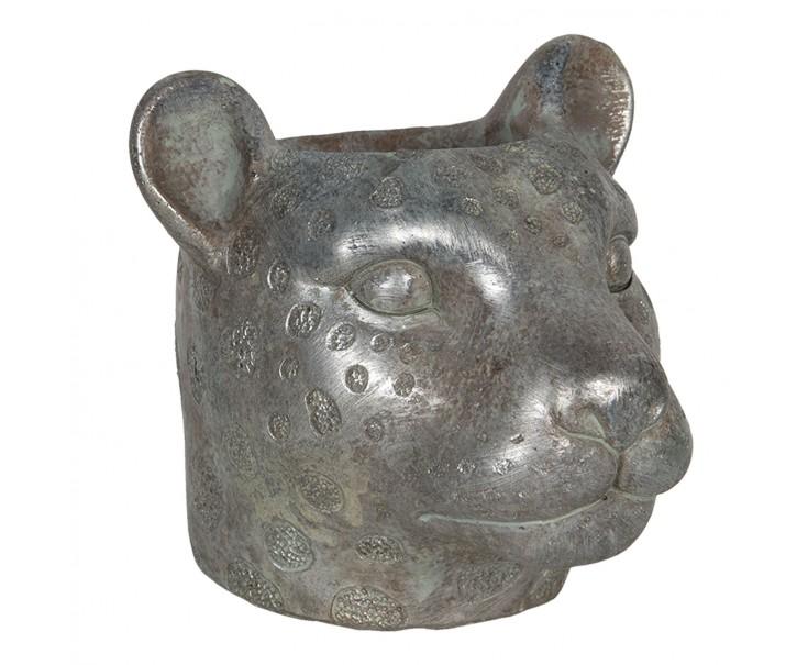 Květináč ve tvaru hlavy leoparda - 16*15*14 cm