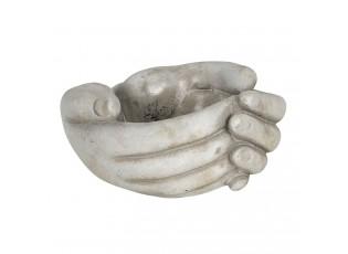 Béžový květináč v designu sepjatých rukou Jointes - 16*15*8 cm