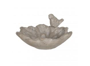Betonové pítko/krmítko ve tvaru květiny s dekorací ptáčka - 20*19*9 cm