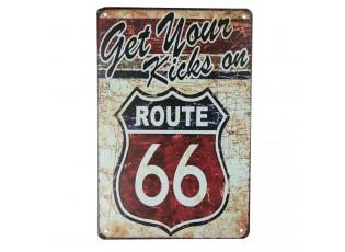 Nástěnná kovová cedule Route 66 - 20*30 cm