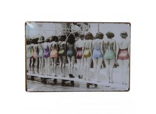 Nástěnná kovová cedule s ženami v plavkách - 30*20 cm