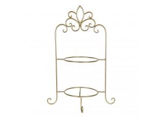 Zlatý kovový ozdobný stojan na talíře dvoupatrový - 38*30*57 cm