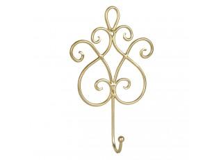 Nástěnný zlatý kovový háček zdobený - 15*5*22 cm