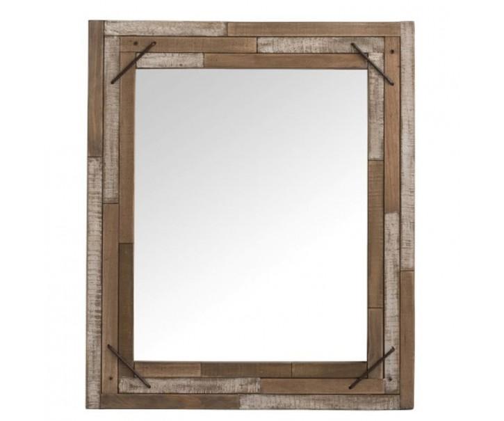 Dřevěné nástěnné zrcadlo z recyklovaných dílů Antique - 54*3*64 cm