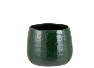 Tmavě zelený vzorovaný obal na květináč Seraphine M - Ø16*14 cm