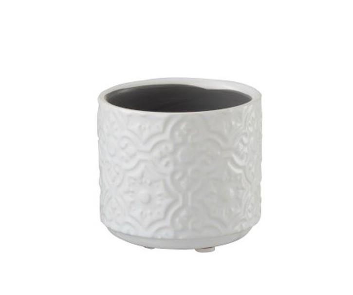 Bílý vzorovaný obal na květináč s květy Ornament XS - Ø8*7 cm