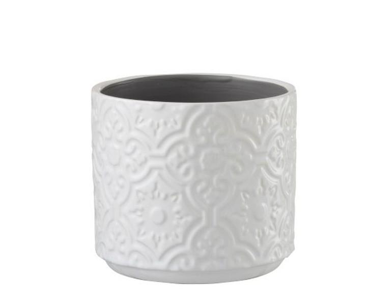 Bílý vzorovaný obal na květináč s květy Ornament S - Ø12*11 cm
