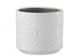 Bílý vzorovaný obal na květináč s květy Ornament M - Ø 14*13 cm