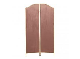 Starorůžový pokojový paravan se zlatým rámem - 100*3*180 cm
