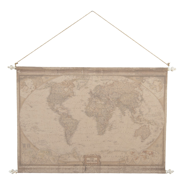 Clayre & Eef Retro nástěnná mapa světa - 130*3*100 cm