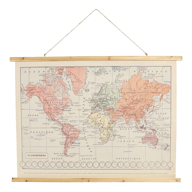 Clayre & Eef Nástěnná historická mapa světa z roku 1914 - 100*2*75 cm