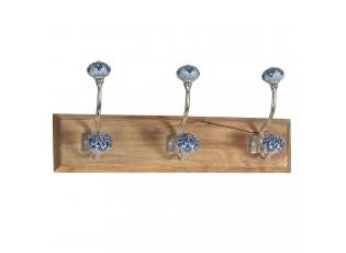 Dřevěný věšák s modrými keramickými knopkami  - 44*10*17 cm