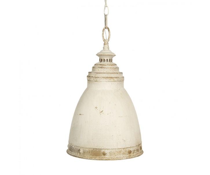 Bílé kovové závěsné světlo s patinou Enyo – Ø 28*45 cm E14/max 1*25W
