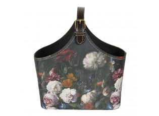 Tmavě tyrkysová dekorativní taška Colette s květinami - 25*12*22 cm