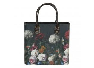Tmavě tyrkysová květovaná taška Colette - 28*14*28/39 cm