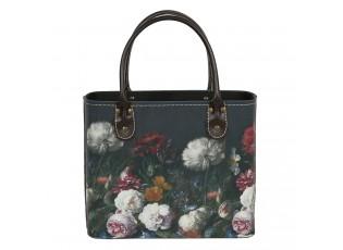 Tmavě tyrkysová květovaná vintage taška Colette - 26*12*26/35 cm